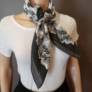 Vintage floral print black white gold cotton scarf
